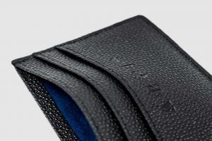 Arcis Card Holder branded leather close up blue suede lining